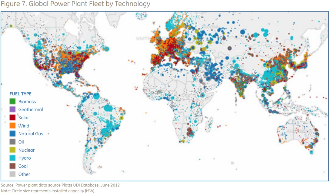 Global Map Of Power Plants By Type Hydro Nuke Etc