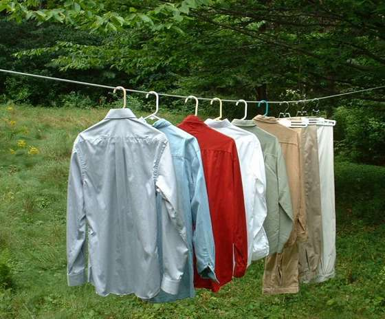 Clothes Drying On A Clothesline ~ Interesting idea for clothes line drying ecorenovator