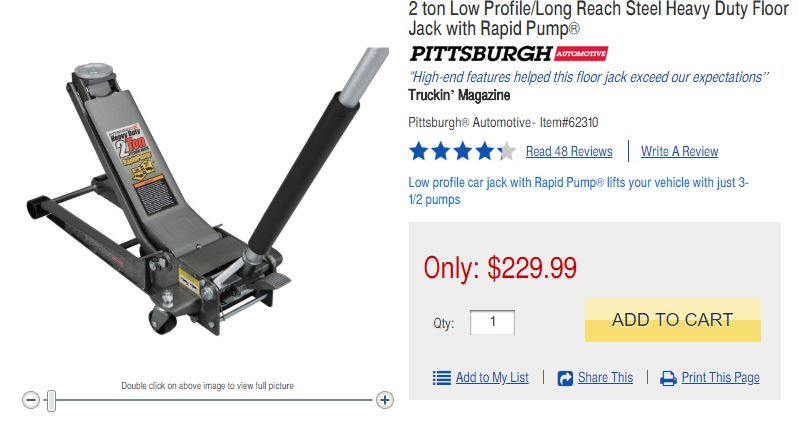6c00530af33 They are replacing it with a very nice Daytona floor jack but that jack  cost  179 on sale.